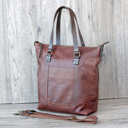 brown leather tote bag grishina 27